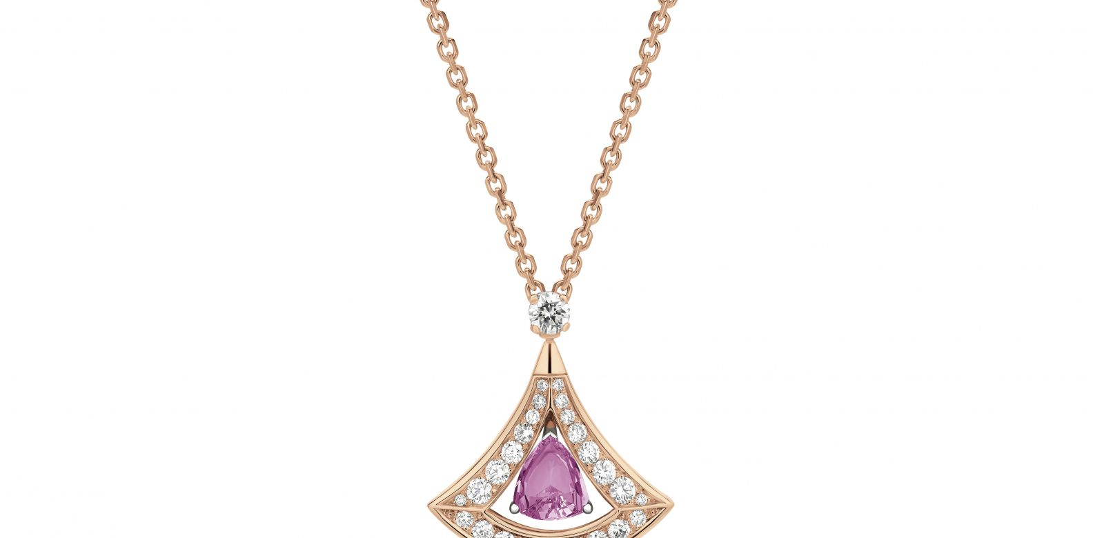 Necklace in pink gold with pink tourmaline and diamonds (1.18cts)