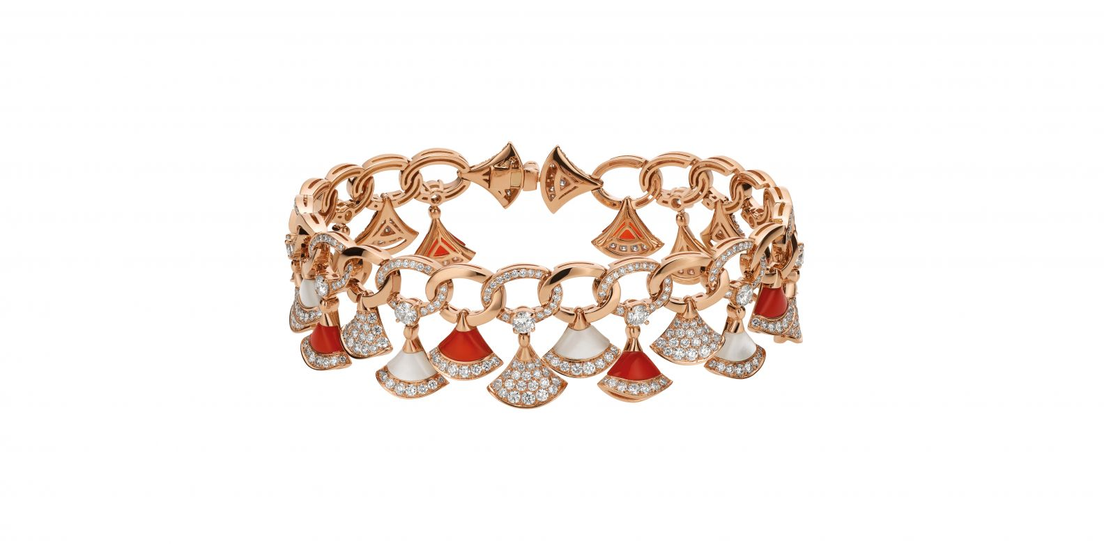 Bracelet in pink gold with carnelian, mother-of-pearl and diamonds (3.49cts)