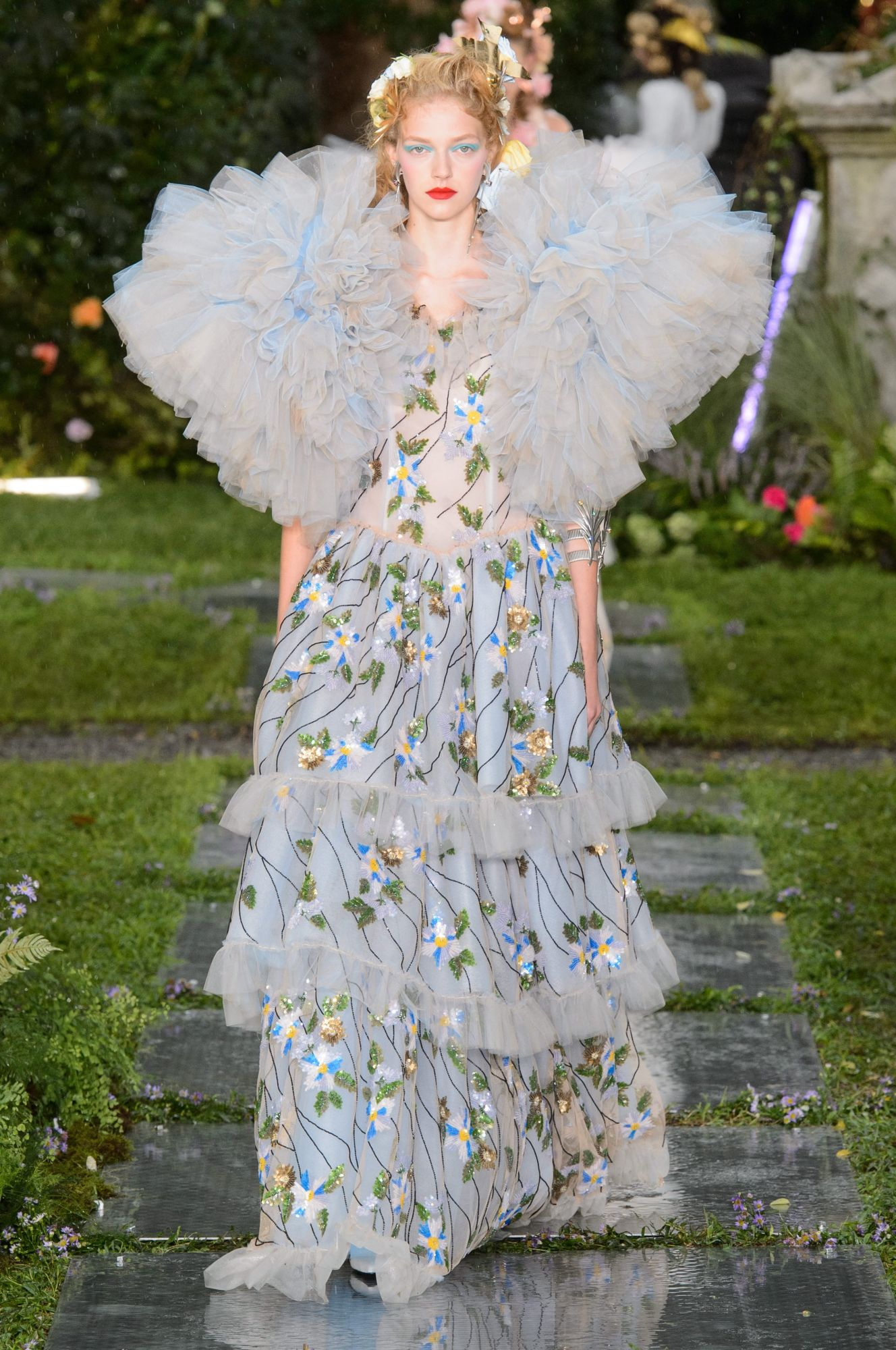 Hand-beaded blue-and-gold floral gown with tulle ruffle details by Rodarte