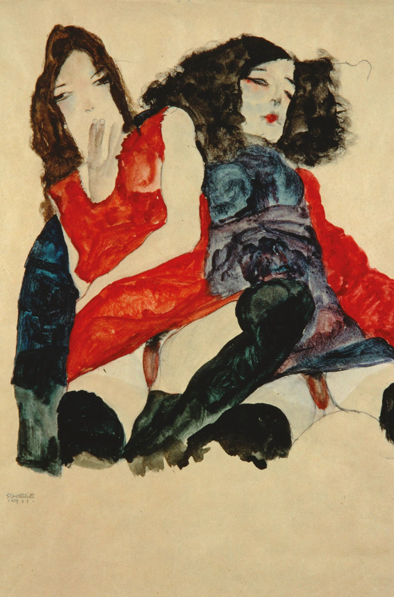 Egon Schiele, Two Girls (1911) (Photo: Courtesy of Richard Nagy Ltd, London)