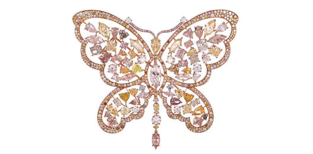 Chopard high jewellery butterfly brooch set with white and fancy-coloured diamonds (Photo: Courtesy of Chopard)