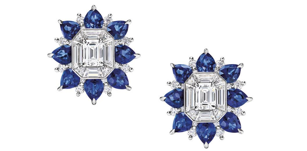 Harry Winston Marble Marquetry earrings set with diamonds and sapphires from the New York collection (Photo: Courtesy of Harry Winston)