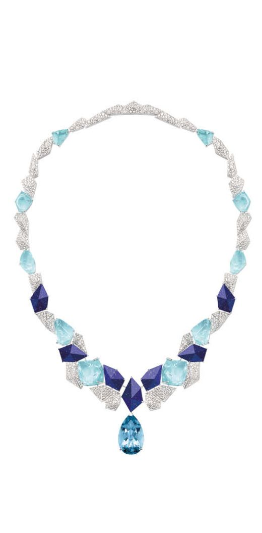 Piaget Necklace in white gold set with a pear-shaped aquamarine, Paraiba tourmalines, lapis lazuli and brilliant-cut diamonds, from the Sunlight Escape collection