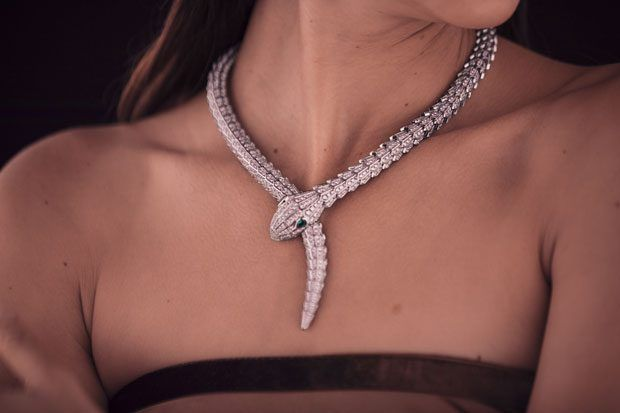 Serpenti necklace in white gold by Bulgari