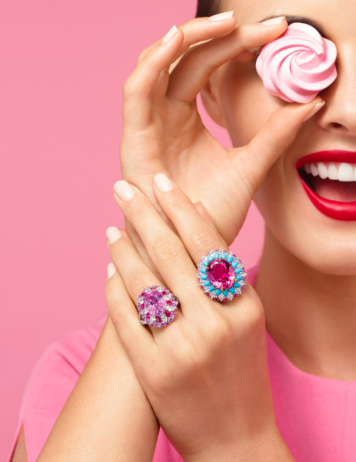 Harry Winston's latest line, Winston Candy, abandons monochrome in favour of brightly coloured stones and cocktail rings in opposing shades