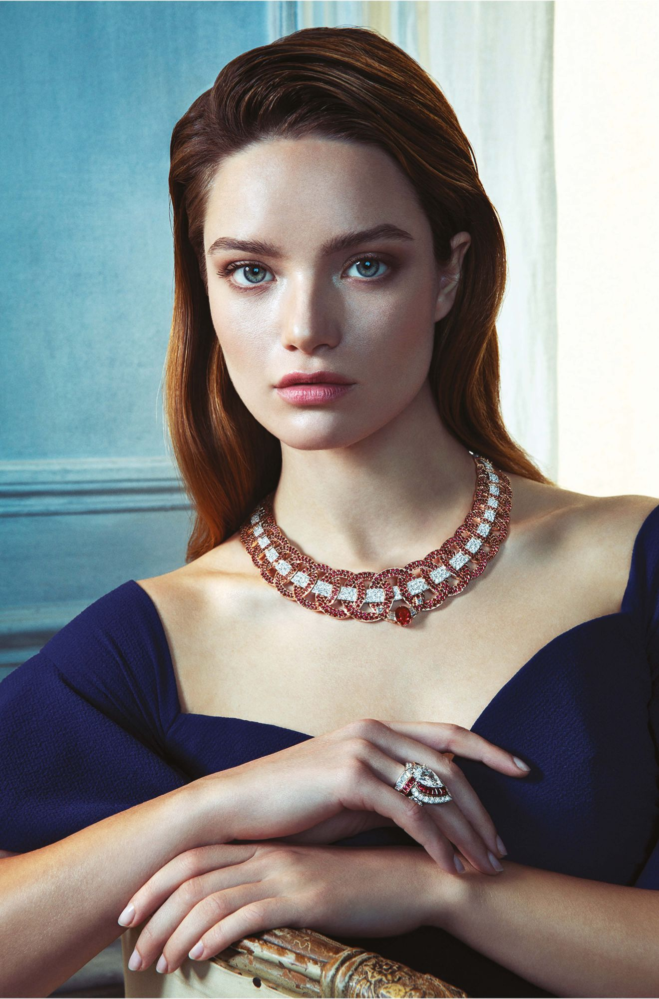 Elsa necklace and Maha ring in white and pink gold set with rubies and diamonds, by Van Cleef & Arpels