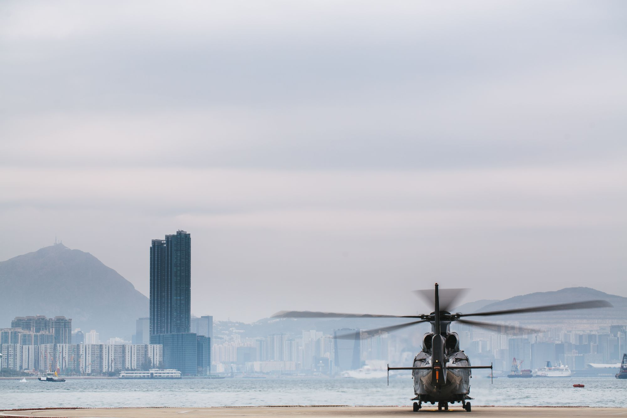 Touring helicopter ready to fly over Hong Kong.