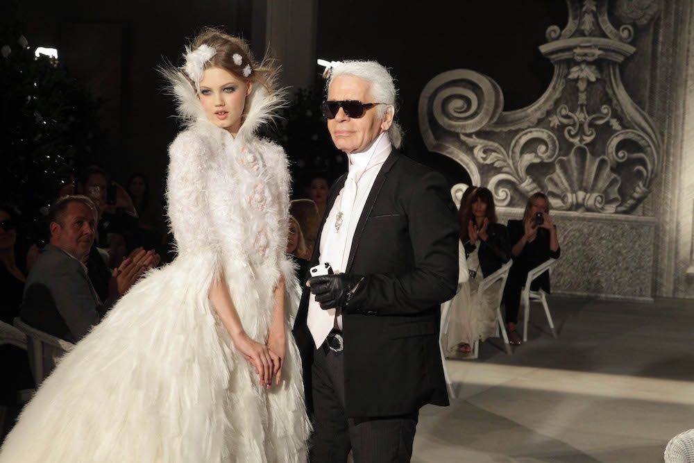Karl Lagerfeld and Lindsey Wixson at the Chanel Haute Couture Show Fall/Winter 2012/13 at Grand Palais (Photo by Michel Dufour/WireImage)