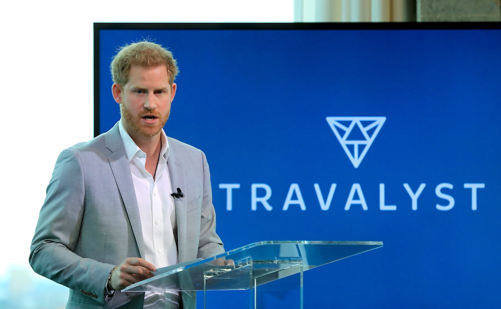 The Duke of Sussex speaking in the A'DAM Tower in Amsterdam during the launch of a new travel industry partnership. (Photo by Gareth Fuller/PA Images via Getty Images)