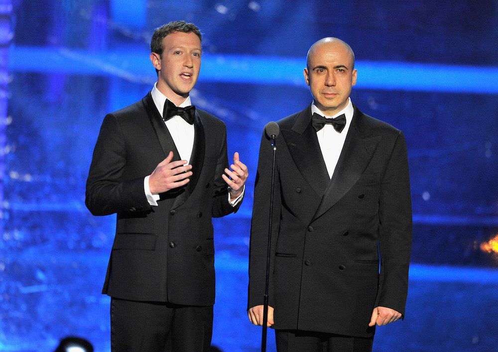 Mark Zuckerberg and Yuri Milner, two co-founders of the Breakthrough Prize at the awards in 2015 (photo: Getty Images)
