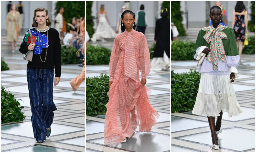 Princess Diana-inspired looks on the runway at Tory Burch spring 2020 (photos: Getty Images)