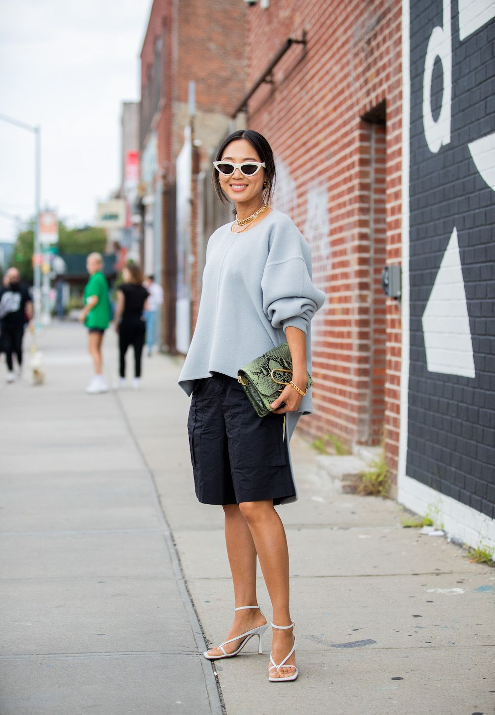 Aimee Song outside 3.1 Phillip Lim during New York Fashion Week (Photo by Christian Vierig/Getty Images)
