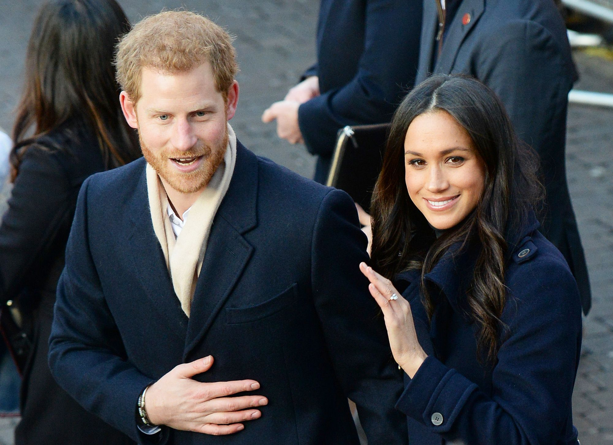 Prince Harry and Meghan Markle arrive at the Nottingham Contemporary in Nottingham, to attend a Terrence Higgins Trust World AIDS Day charity fair on their first official engagement together. (Photo by Joe Giddens/PA Images via Getty Images)