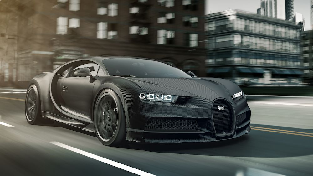 Bugatti Chiron Noire—a slightly less expensive version of the world's most expensive car (photo courtesy Bugatti)