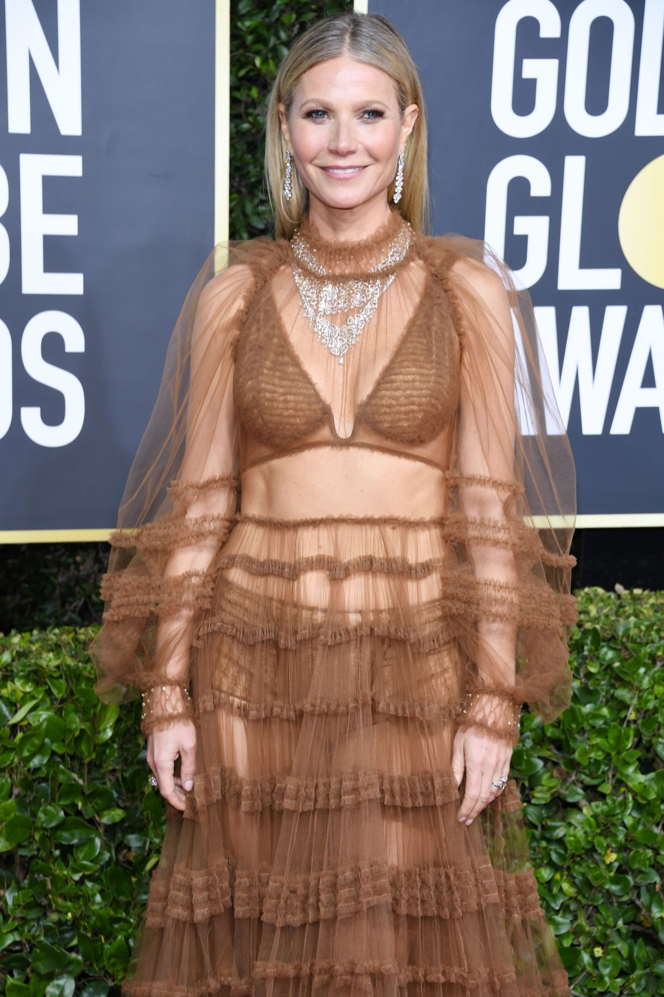 A presenter for the Golden Globes, Gwyneth Paltrow donned two Bulgari Fiorever high jewellery necklaces with earrings and two rings, amassing almost 100 carats of diamonds. Good for her