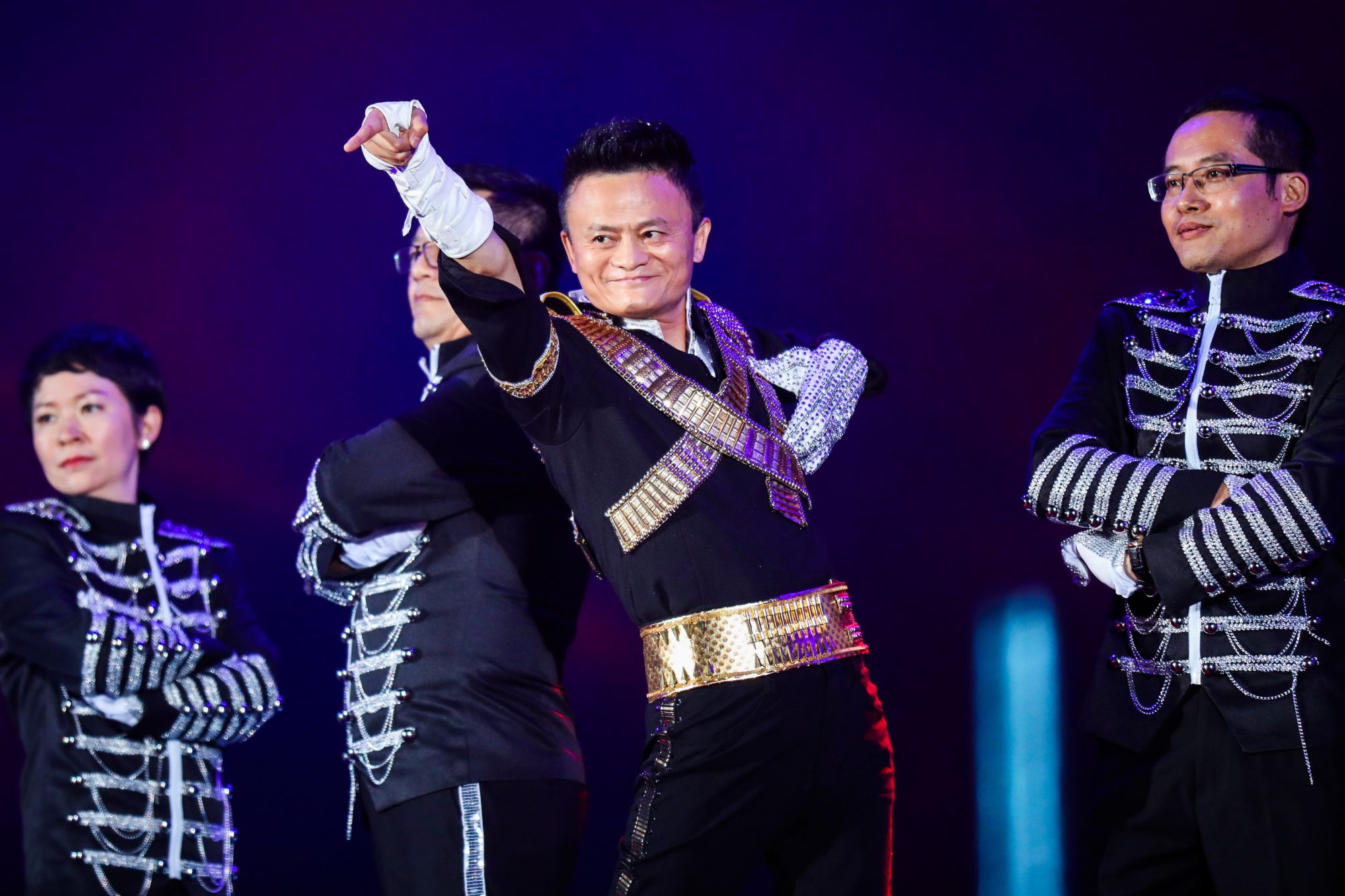 ZHEJIANG, CHINA - SEPTEMBER 08: (CHINA MAINLAND OUT)Jack Ma, founder and chairman of China's e-commerce giant Alibaba dresses as Michael Jackson and dances in the Alibabasannual party celebrating the 18th anniversary of the Alibaba Group in Hangzhou, capital of east China's Zhejiang Province, Sept. 8, 2017. About 40,000 Alibaba employees from 21countries and regions attended the party. (Photo by TPG/Getty Images)