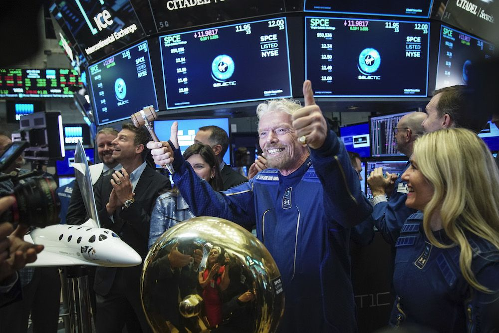 Sir Richard Branson, Founder of Virgin Galactic, on the floor of the New York Stock Exchange (Photo by Drew Angerer/Getty Images)