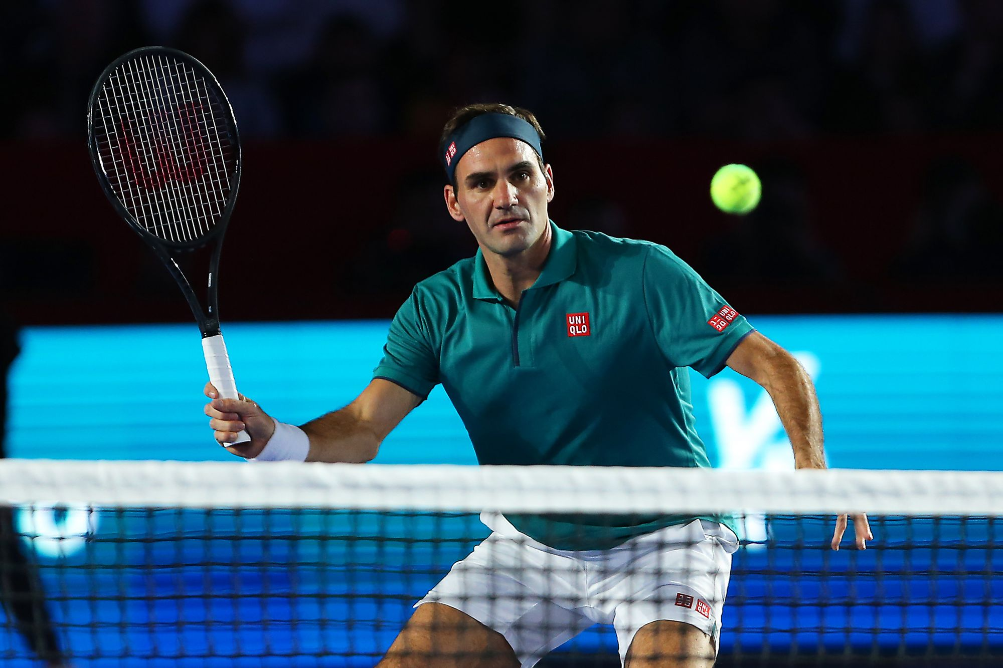 MEXICO CITY, MEXICO - NOVEMBER 23: Roger Federer of Switzerland plays a shot during 'The Greatest Match' between Roger Federer and Alexander Zverev at Plaza Mexico on November 23, 2019 in Mexico City, Mexico. (Photo by Angel Castillo/Jam Media/Getty Images)