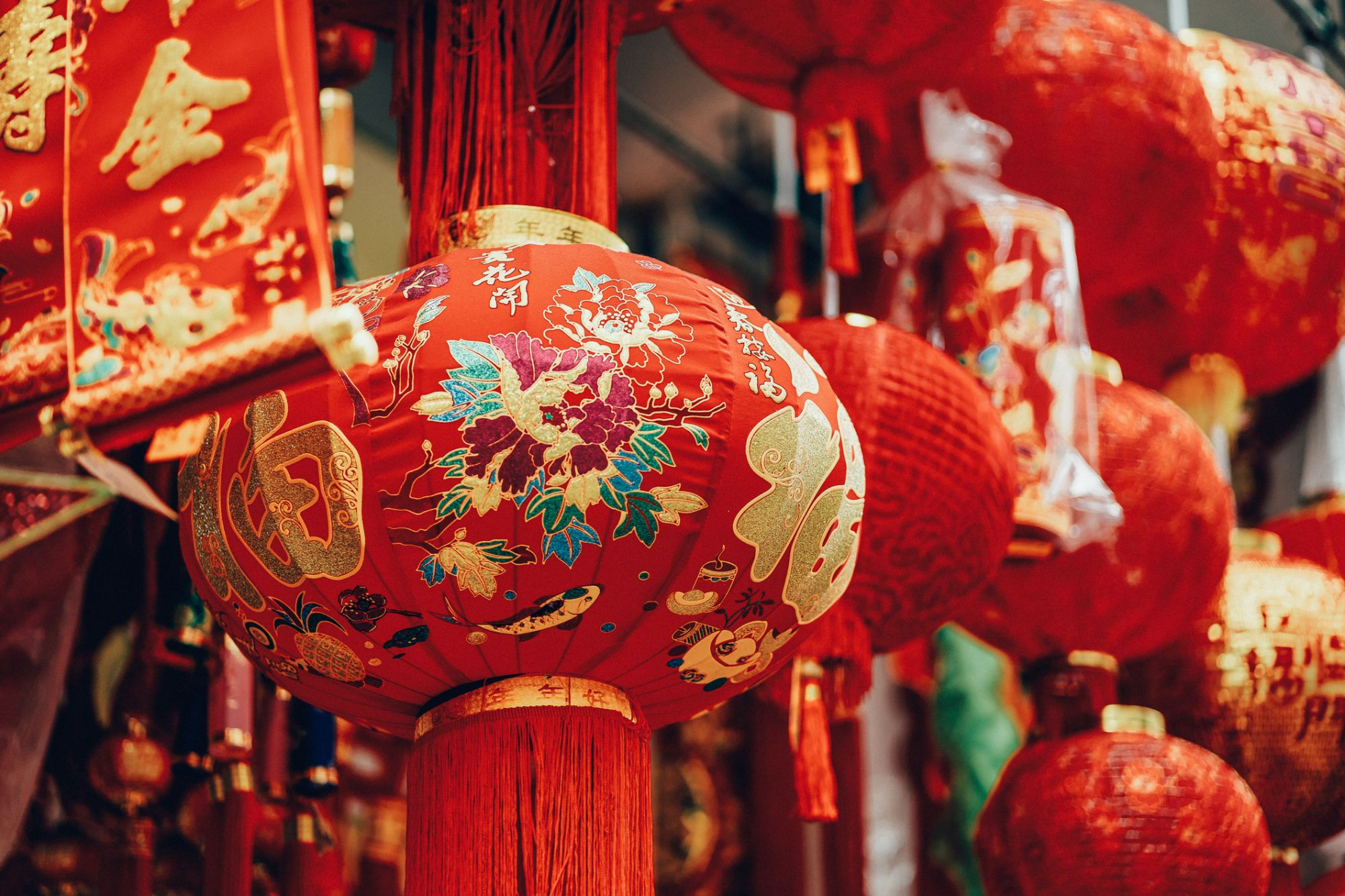 Vibrant colours of lanterns, decorations and ornaments for Chinese New Year in celebration of luck, healthiness, happiness, reunion and prosperities