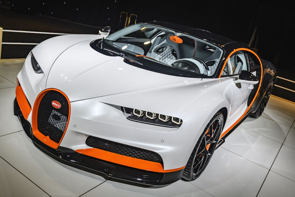 Bugatti Chiron Sport mid-engined W16 engine exclusive hypercar on display at Brussels Expo on January 8, 2020 (Photo by Sjoerd van der Wal/Getty Images)