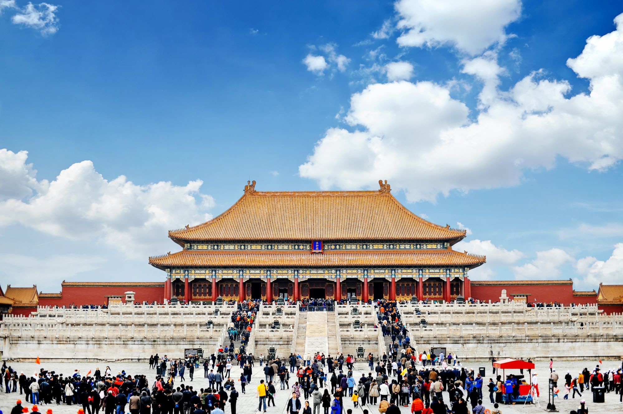 Entrance to the forbidden city in Beijing, China. Lot's of tourists meeting in front of the temple.