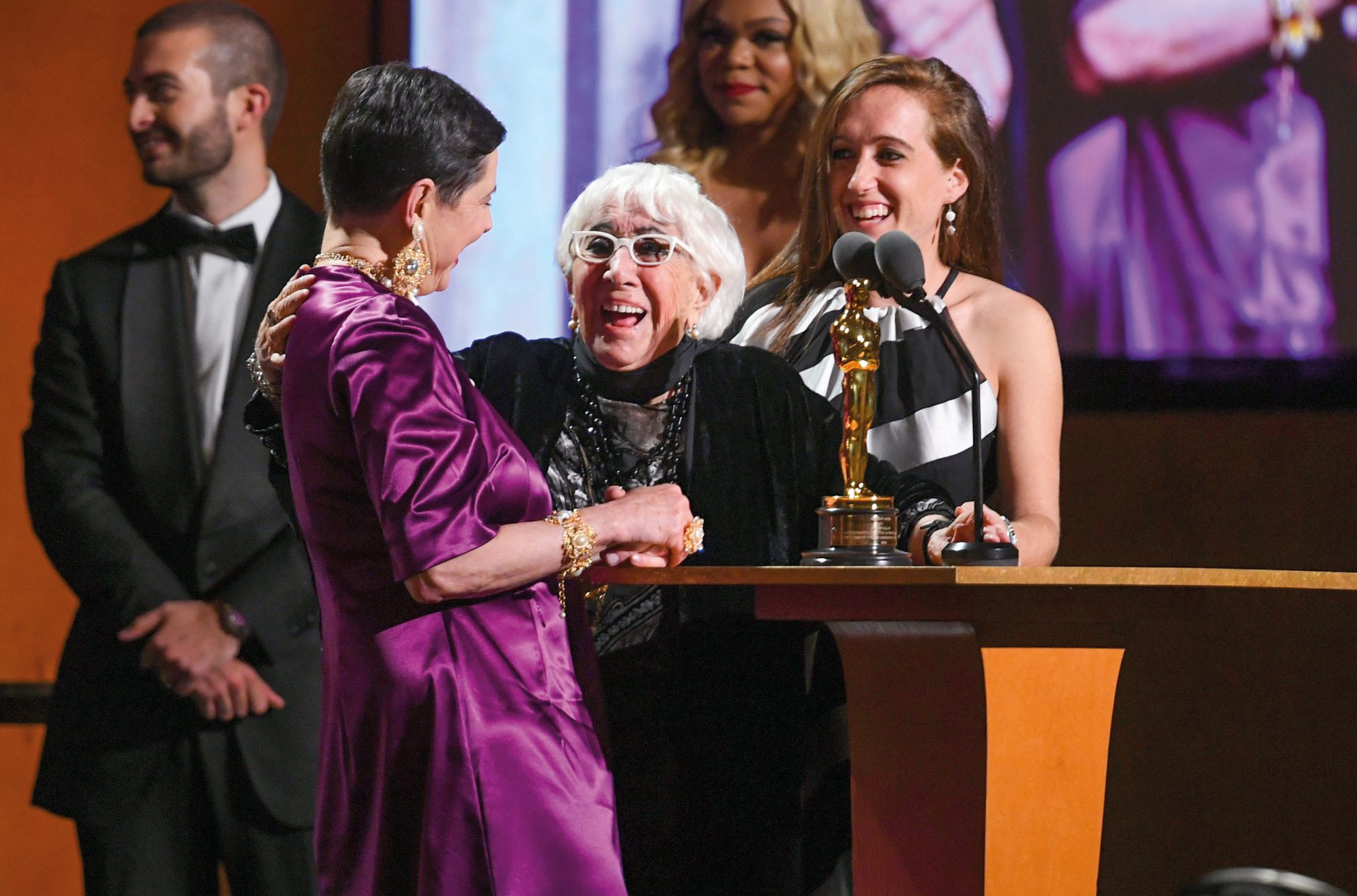 Lina Wertmüller, the 91-year-old Italian director, is awarded an honorary Oscar at the 11th Governors Awards