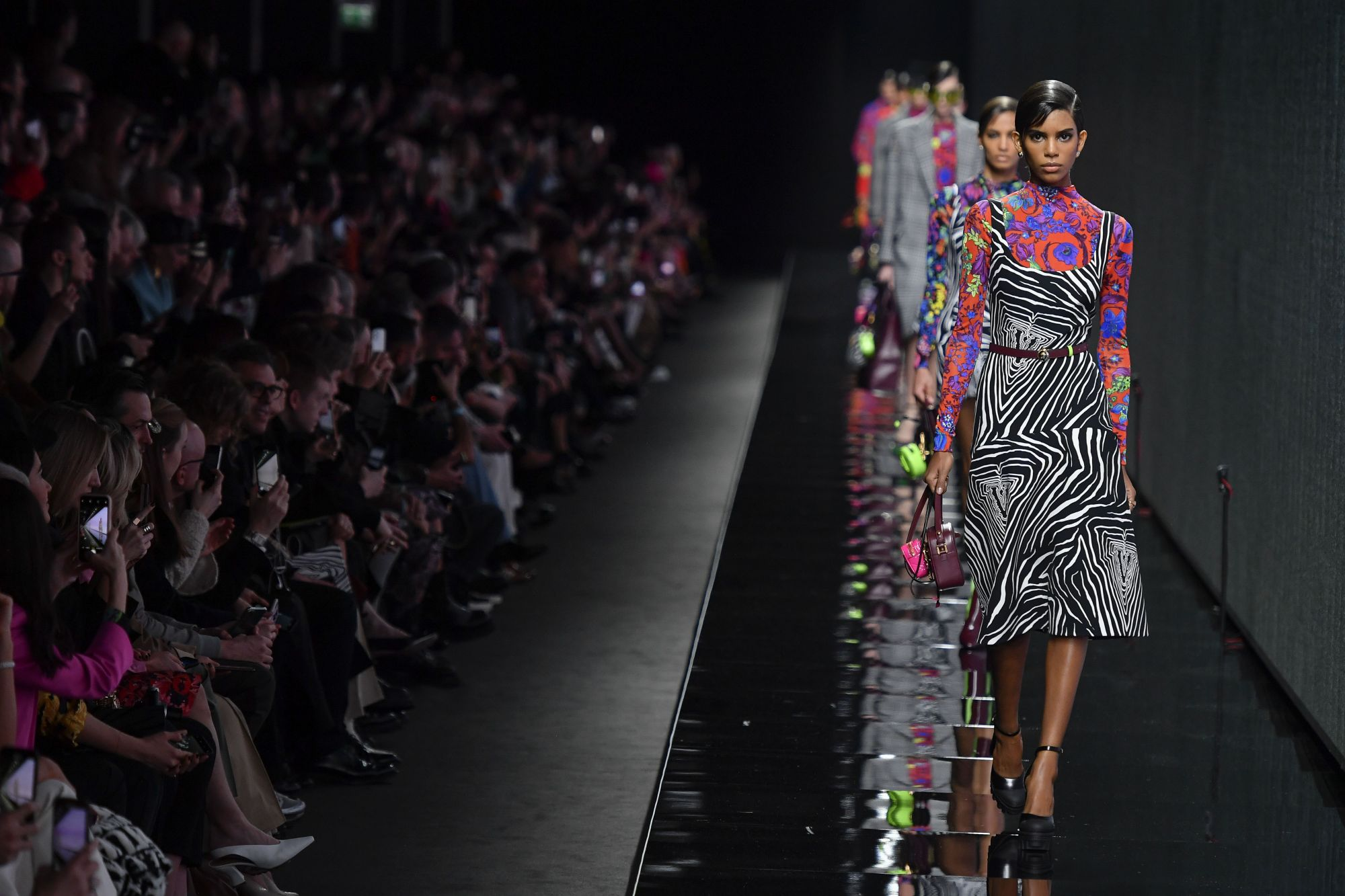 MILAN, ITALY - FEBRUARY 21: A model walks the runway during the Versace fashion show as part of Milan Fashion Week Fall/Winter 2020-2021 on February 21, 2020 in Milan, Italy. (Photo by Victor VIRGILE/Gamma-Rapho via Getty Images)
