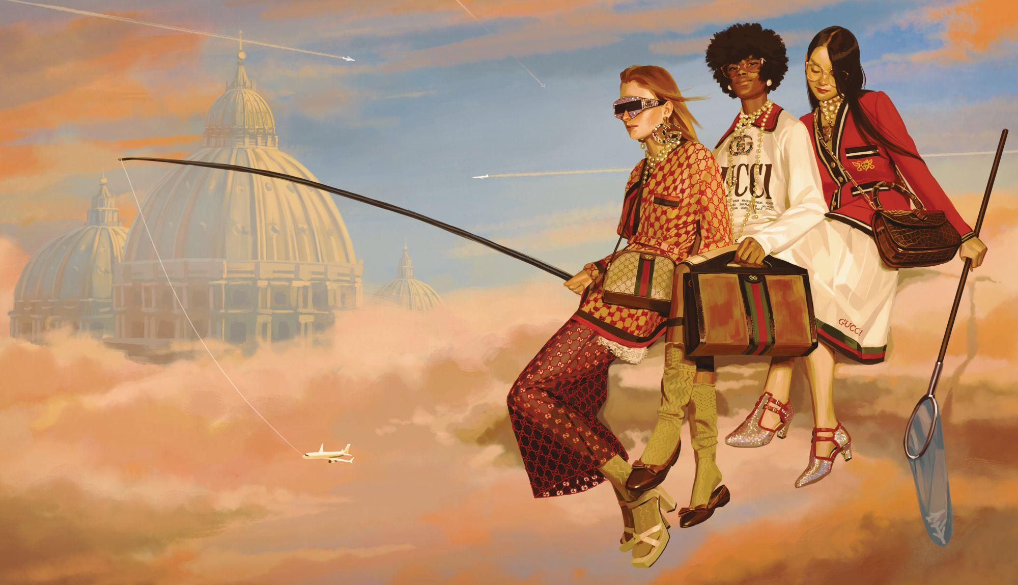 Painting by Ignasi Monreal for Gucci's Utopian Fantasy campaign