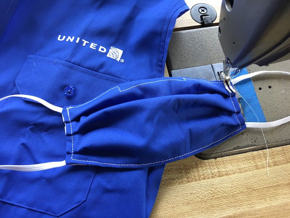United Airlines made 7,500 face masks for airline employees from old uniforms (photo: Courtesy United Airlines)