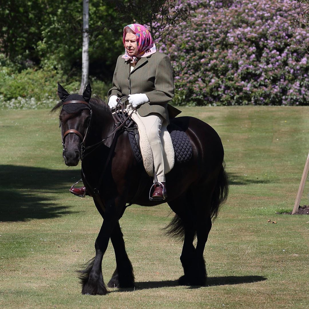 Queen Elizabeth Was Spotted For The First Time Since Lockdown Riding Her Horse At Windsor Castle