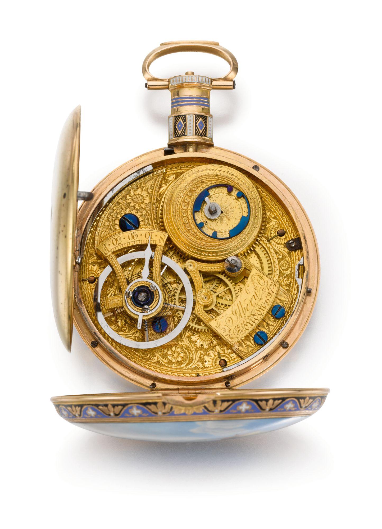 Ilbery, 1820, montre de poche ouverte en or et émail chinois (Photo: Sotheby's)