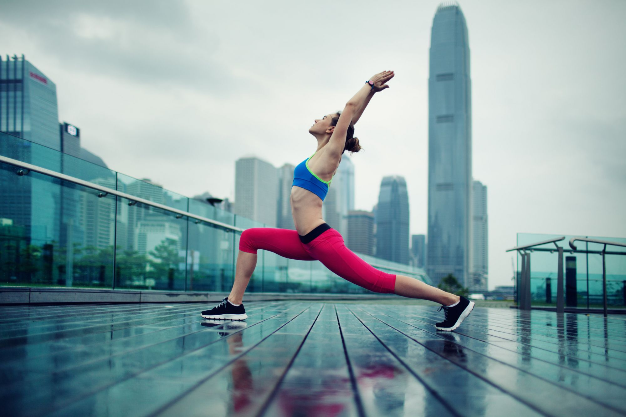 Young Woman Exercising Outdoors, shot from HongKong