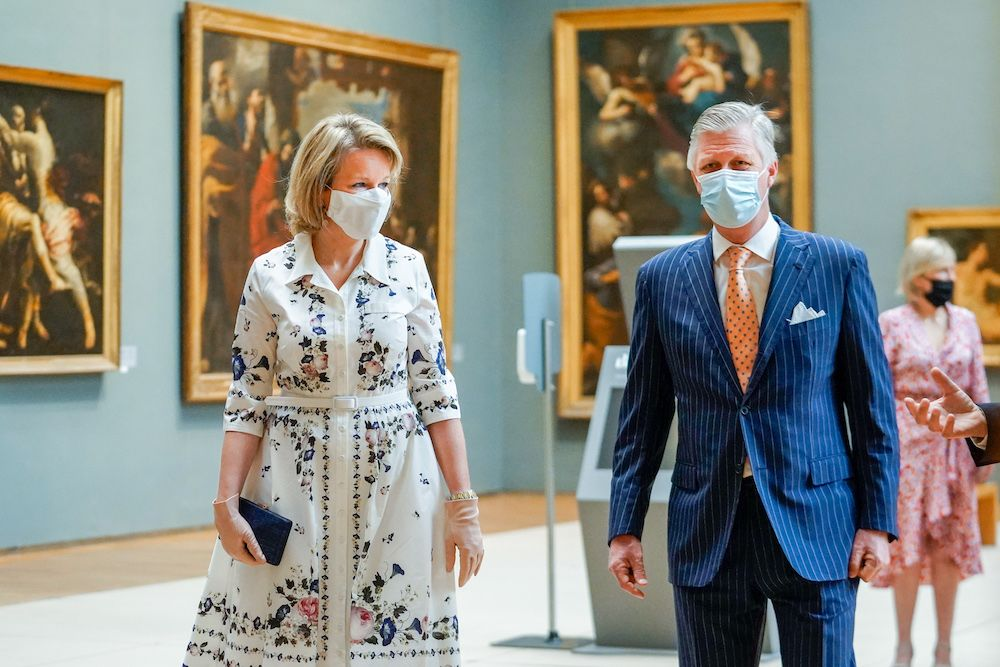 Queen Mathilde and King Philippe wearing face masks (Photo : Daina Le Lardic / Isopix)