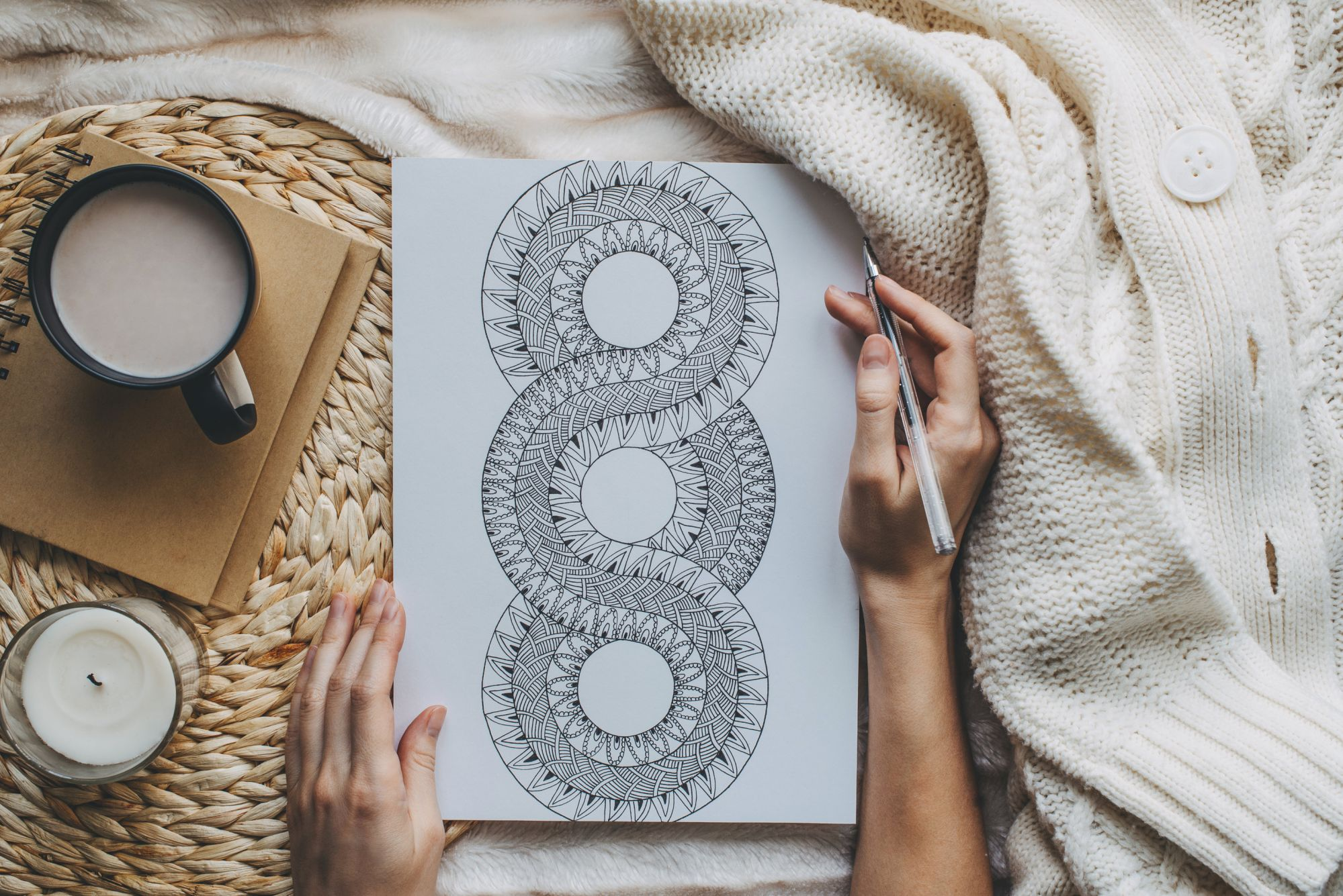 Mandalas sketch in scandinavian style, still-life with home decor