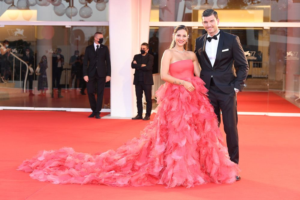 """Beatrice Valli and Marco Fantini walk the red carpet ahead of the movie """"Padrenostro"""" at the 77th Venice Film Festival  (Photo by Daniele Venturelli/WireImage,)"""