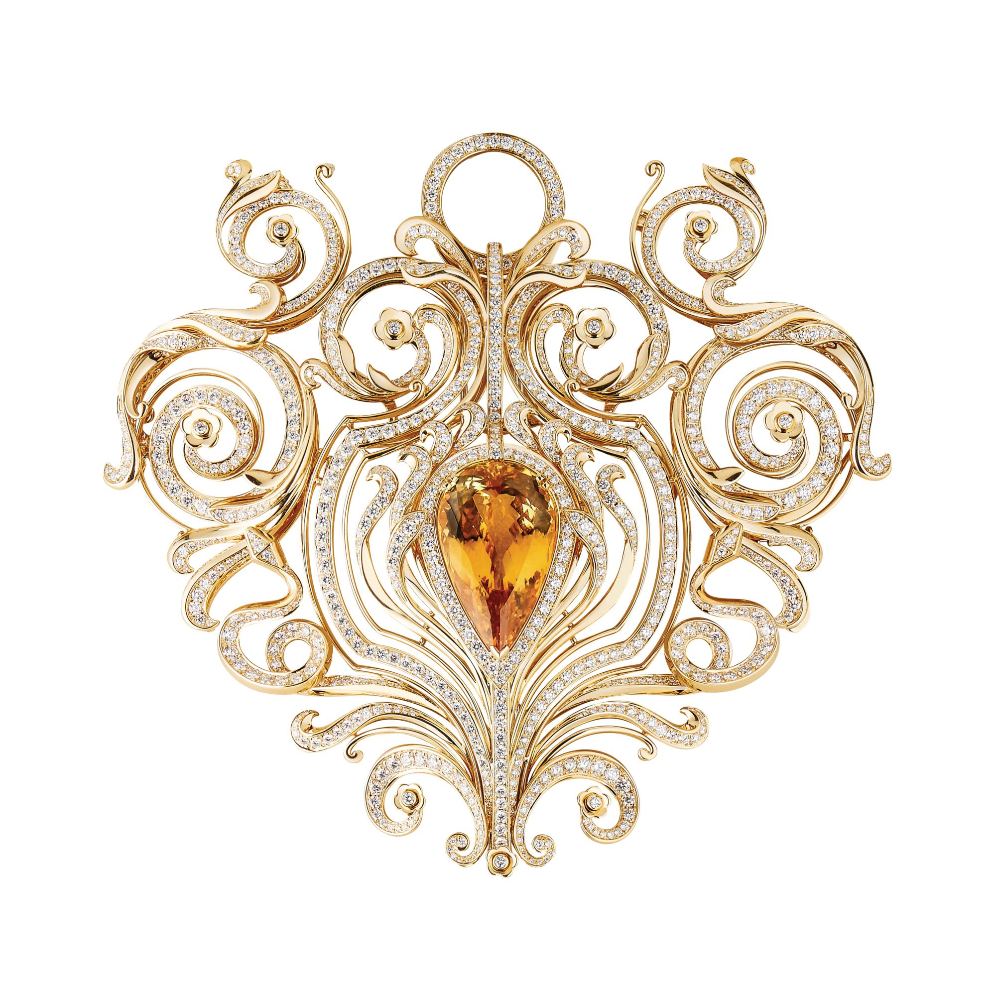 Armoiries necklace in yellow gold set with an imperial topaz and diamonds by Boucheron