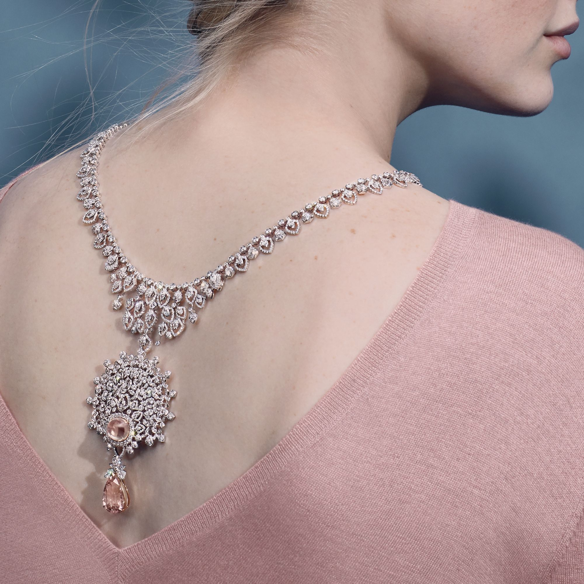 Promenades Impériales necklace in white and pink gold set with Padparadscha sapphires and diamonds by Chaumet