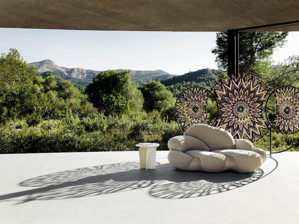 The Mandala Screen by Zanellato/Bortotto, the Bomboca sofa by Fernando and Humberto Campana and the Blossom Stool by Tokujin Yoshioka (photo: Tommaso Sartori/Louis Vuitton)
