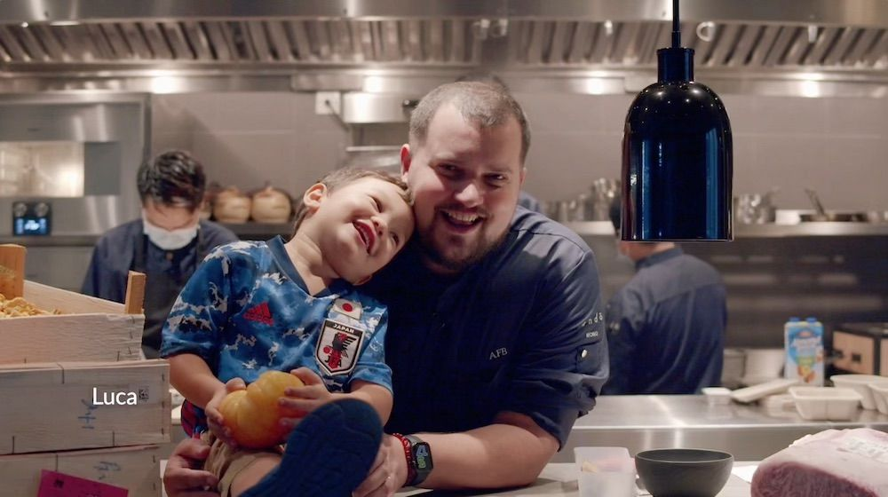 Chef Agustin Balbi and son Luca at Ando in Hong Kong (photo video still: Kevin Cheung, Tatler Hong Kong)