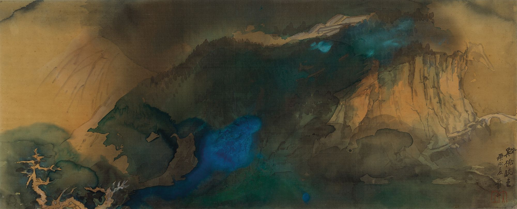 Evening Colors over the Stream and Bridge (1970) by Zhang Daqian