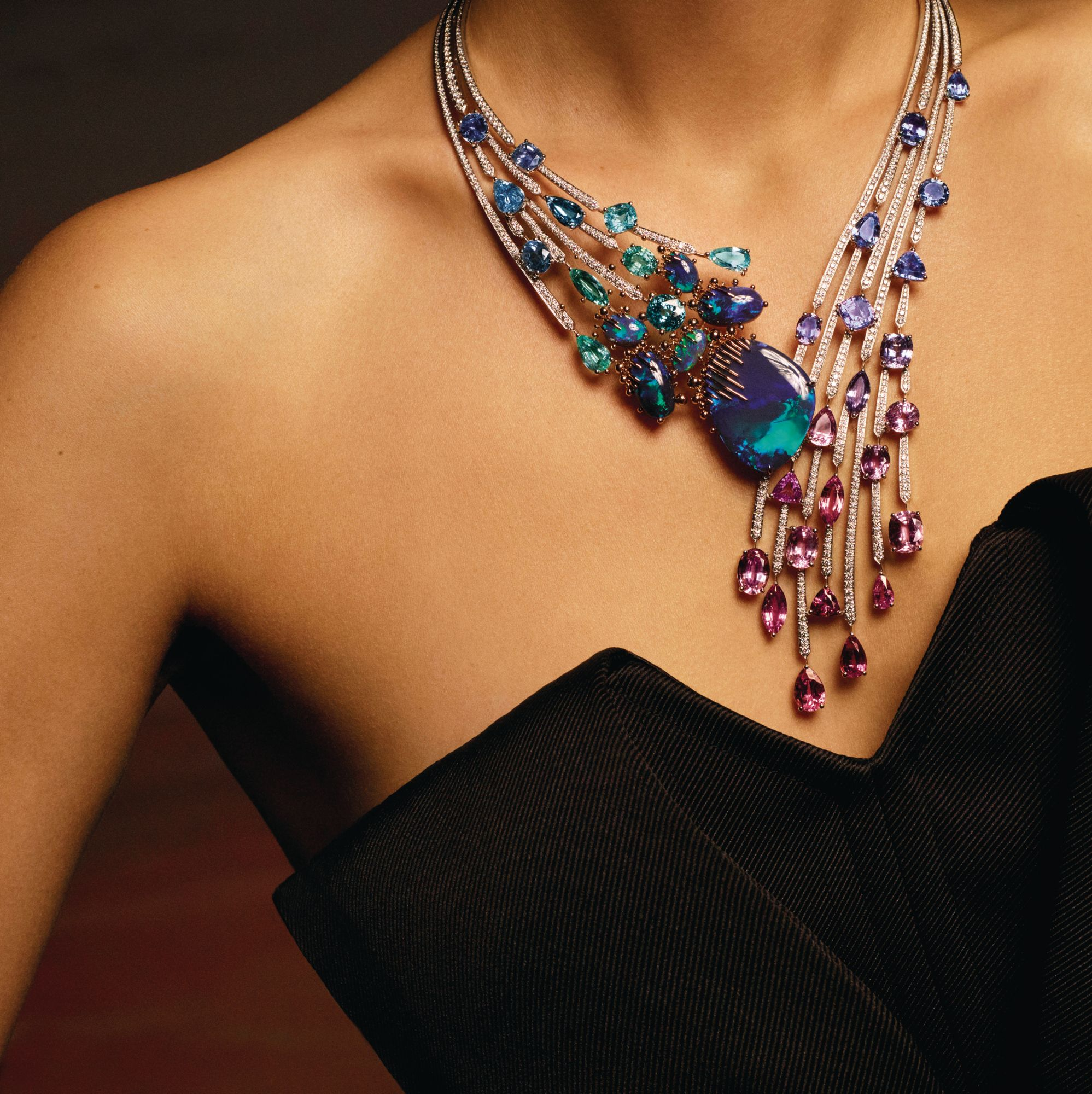 Chaumet Passages necklace in white and rose gold set with black opals, Paraiba tourmalines and diamonds