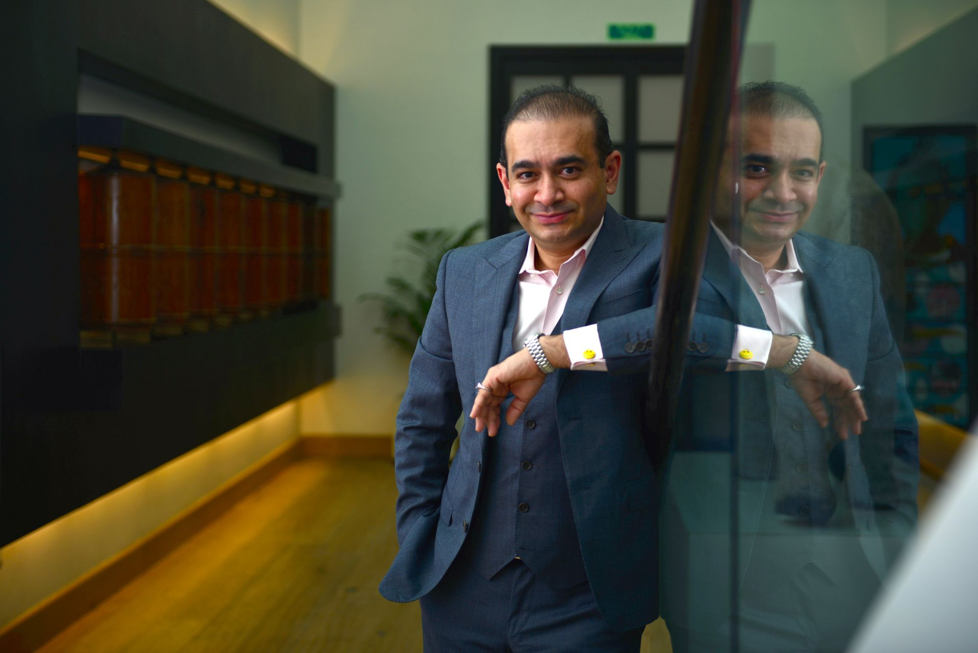 MUMBAI, INDIA - AUGUST 9: Luxury diamond jewellery designer and founder and creative director of the Nirav Modi chain of diamond jewellery retail stores Nirav Modi at his office in Lower Parel, on August 9, 2016 in Mumbai, India. (Photo by Aniruddha Chowdhury/Mint via Getty Images)