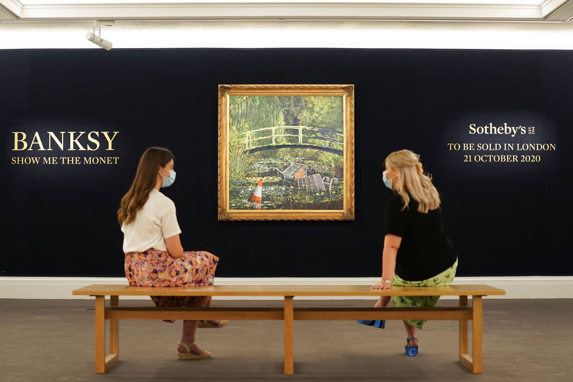LONDON, ENGLAND - SEPTEMBER 18: Banksy's 'Show Me The Monet' (2005) to star in Sotheby's 'Modernites/Contemporary' evening auction on the 21st October with an estimate of £3,000,000 to £5,000,000 at Sotheby's on September 18, 2020 in London, England. (Photo by Michael Bowles/Getty Images for Sotheby's)