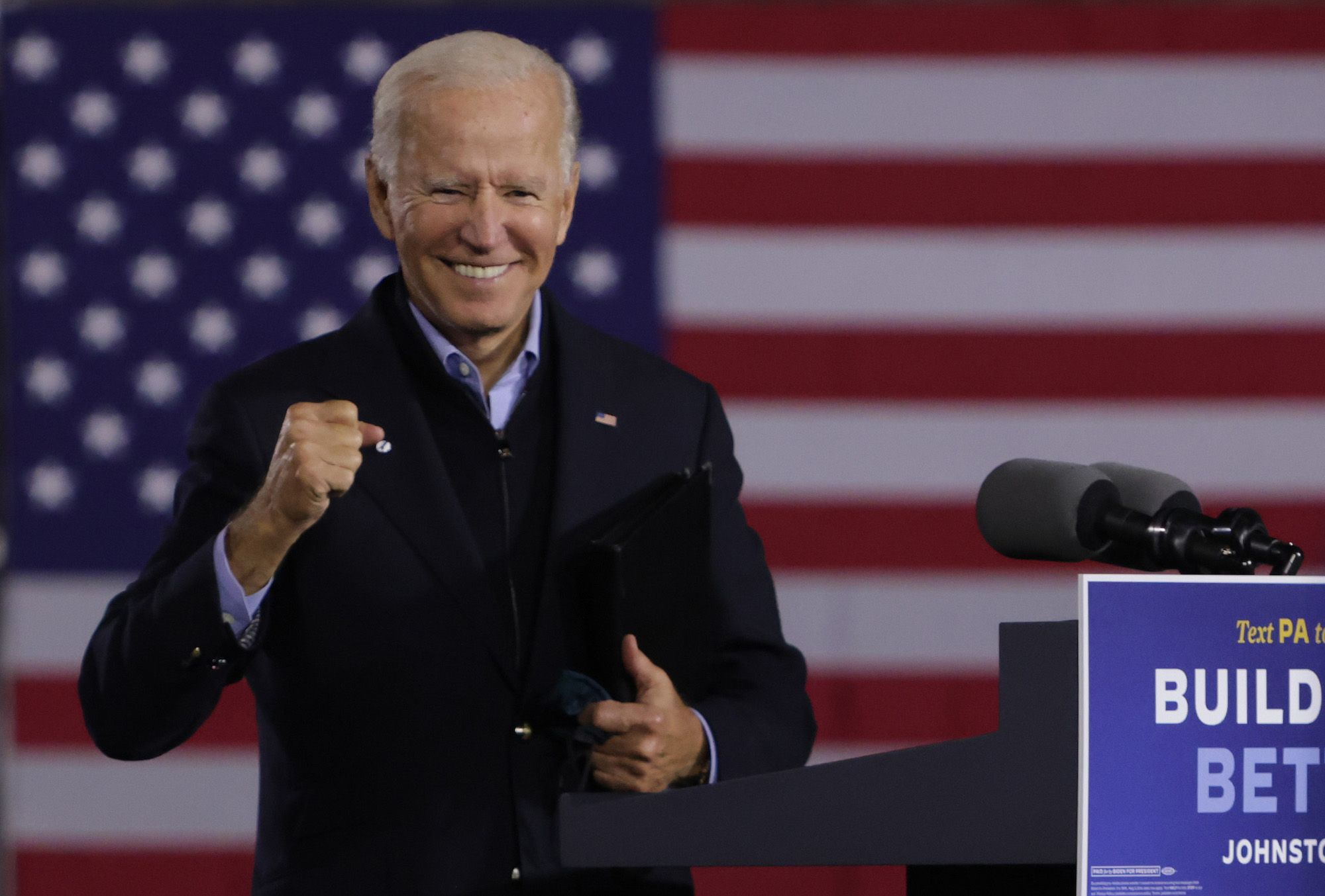 JOHNSTOWN, PENNSYLVANIA - SEPTEMBER 30:  Democratic U.S. presidential nominee Joe Biden gestures during a campaign stop outside Johnstown Train Station September 30, 2020 in Johnstown, Pennsylvania. Former Vice President Biden continues to campaign for the upcoming presidential election today on a day-long train tour with stops in Ohio and Pennsylvania.  (Photo by Alex Wong/Getty Images)