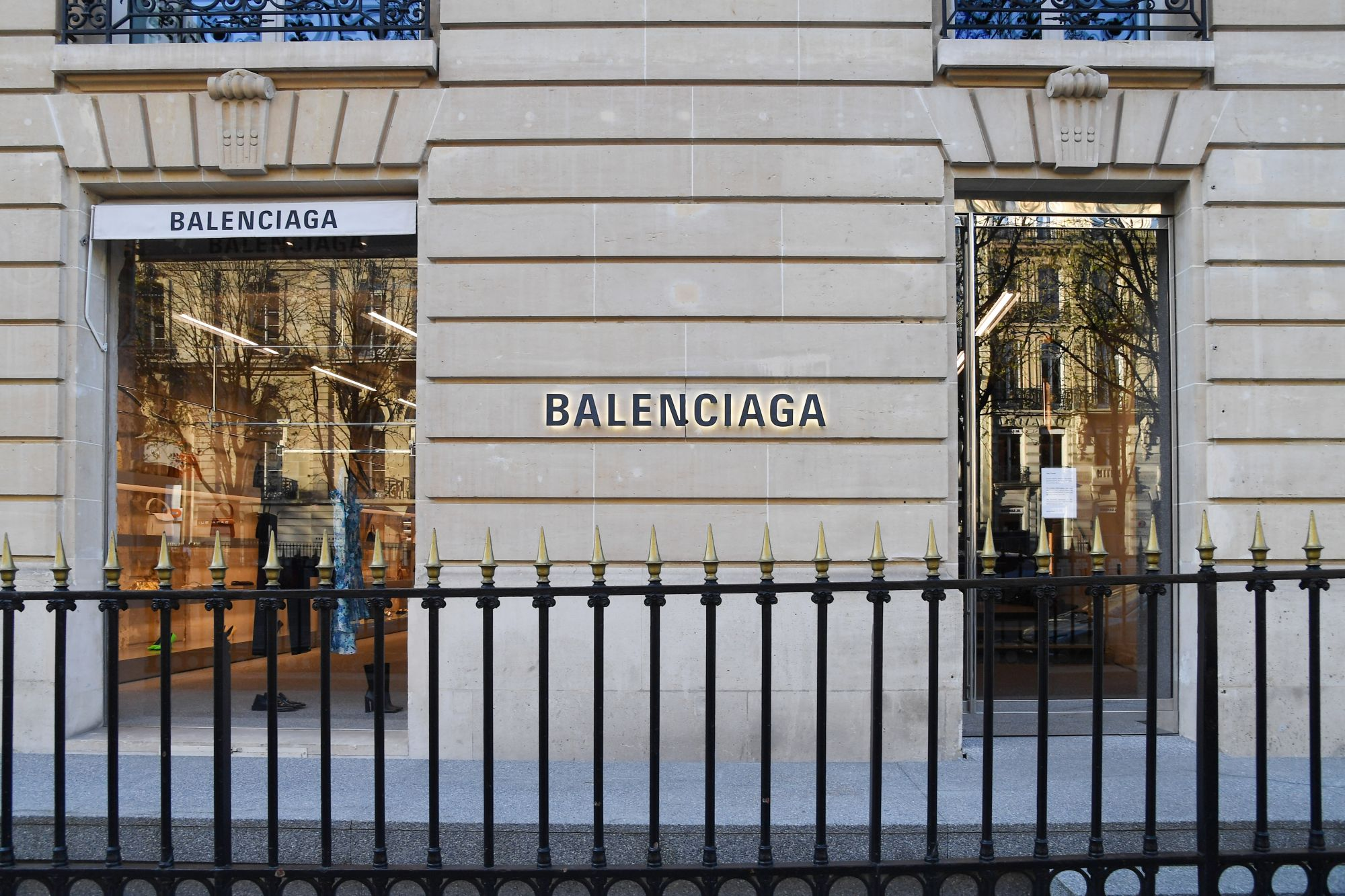 PARIS, FRANCE - MARCH 15: A closed Balenciaga shop is seen at Avenue Montaigne as France faces the coronavirus pandemy on March 15, 2020 in Paris, France. French Prime Minister Edouard Philippe announced that France must shut shops, restaurants and entertainment facilities to slow down the spread of the coronavirus. Due to a sharp increase in the number of cases of the COVID-19 virus declared in Paris and throughout France, several sporting, cultural and festive events have been postponed or cancelled. The