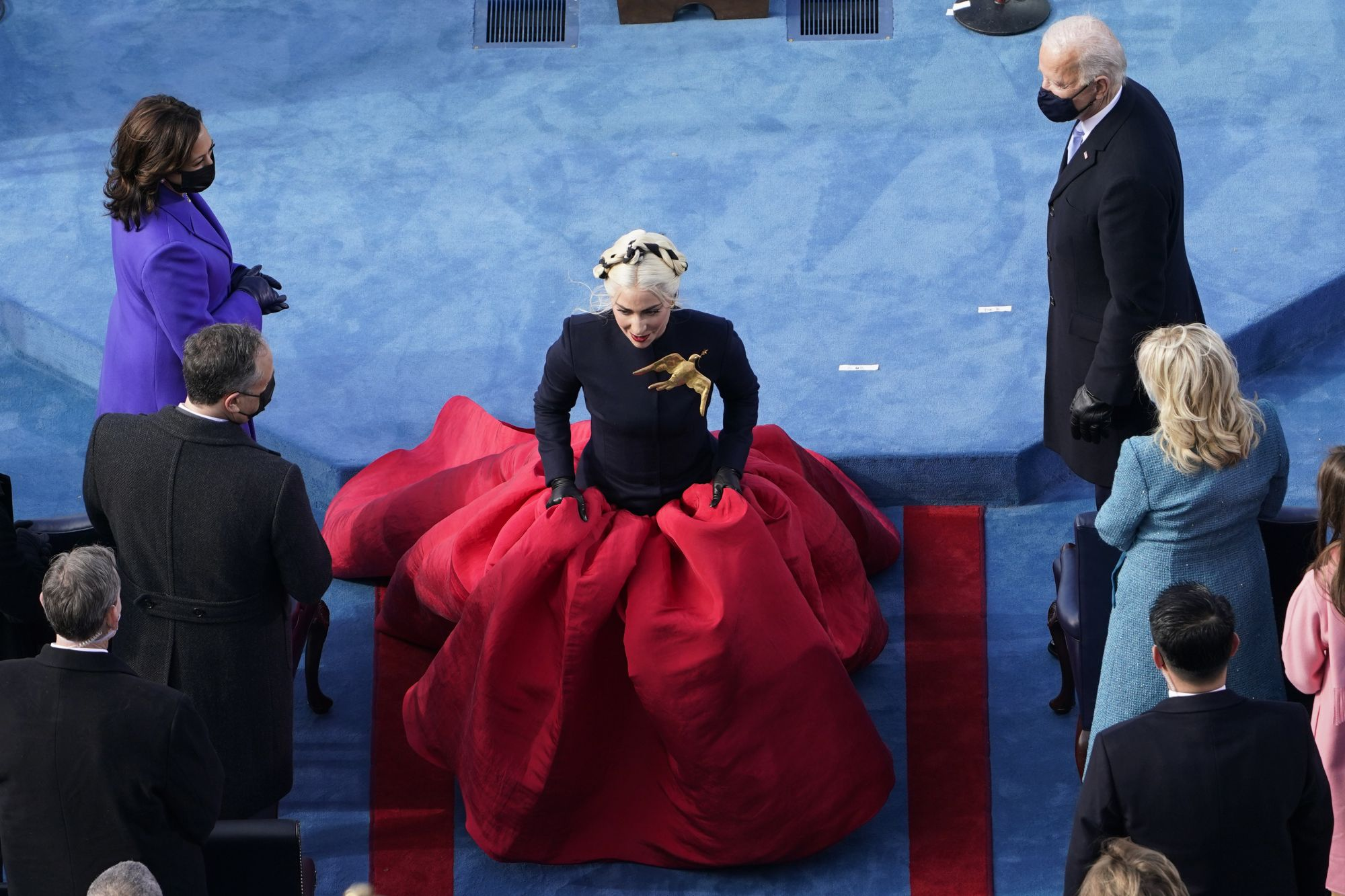 WASHINGTON, DC - JANUARY 20: President-elect Joe Biden and Vice President-elect Kamala Harris watch as Lady Gaga walks away during the 59th presidential inauguration on the West Front of the U.S. Capitol on January 20, 2021 in Washington, DC. During today's inauguration ceremony Joe Biden becomes the 46th president of the United States. (Photo by Susan Walsh - Pool/Getty Images)