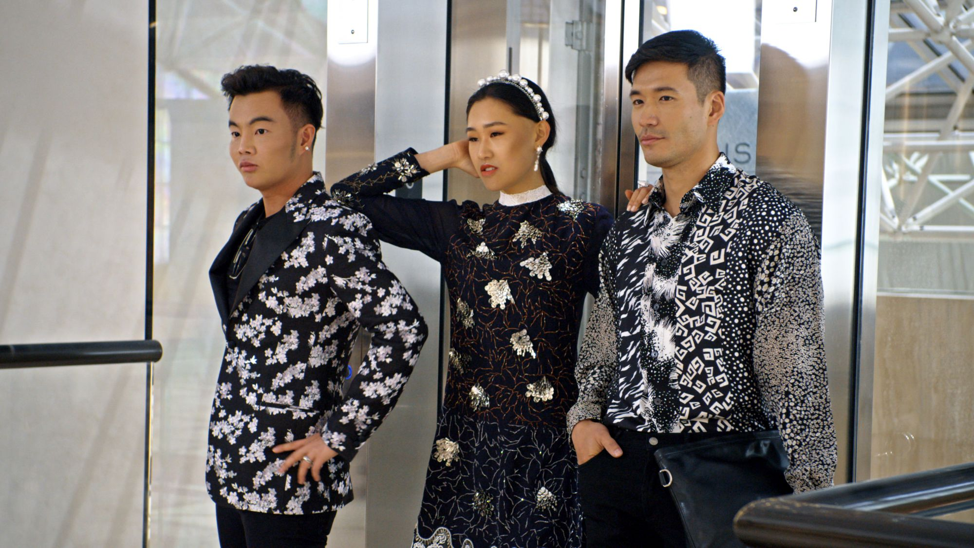 "(L-R) Kane Lim, Jaime Xie and Kevin Kreider in episode 8 ""Will You Marry Me?"" of Bling Empire: Season 1. c. Courtesy of Netflix © 2021"