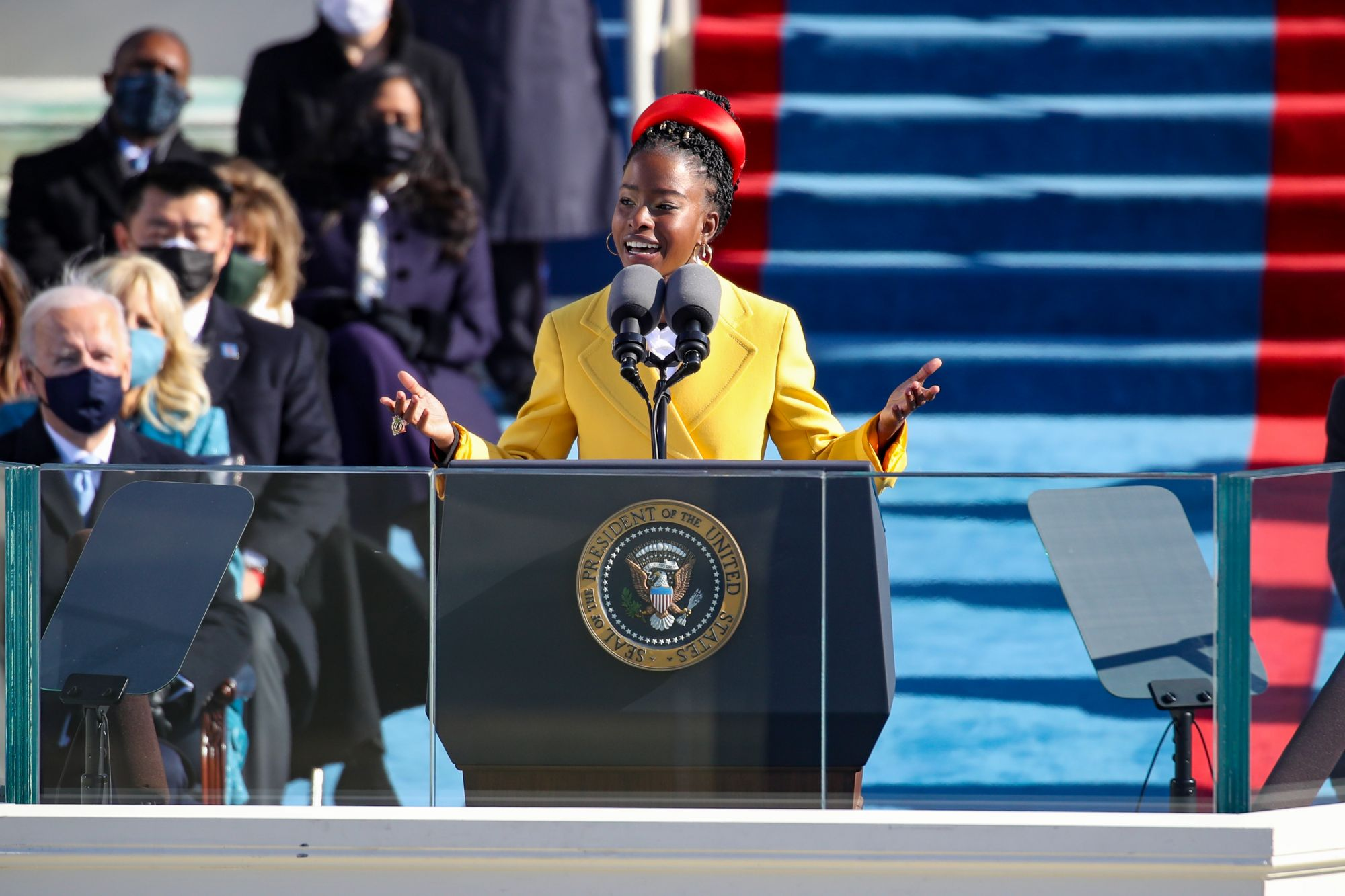 WASHINGTON, DC - JANUARY 20: Youth Poet Laureate Amanda Gorman speaks at the inauguration of U.S. President Joe Biden on the West Front of the U.S. Capitol on January 20, 2021 in Washington, DC.  During today's inauguration ceremony Joe Biden becomes the 46th president of the United States. (Photo by Rob Carr/Getty Images)