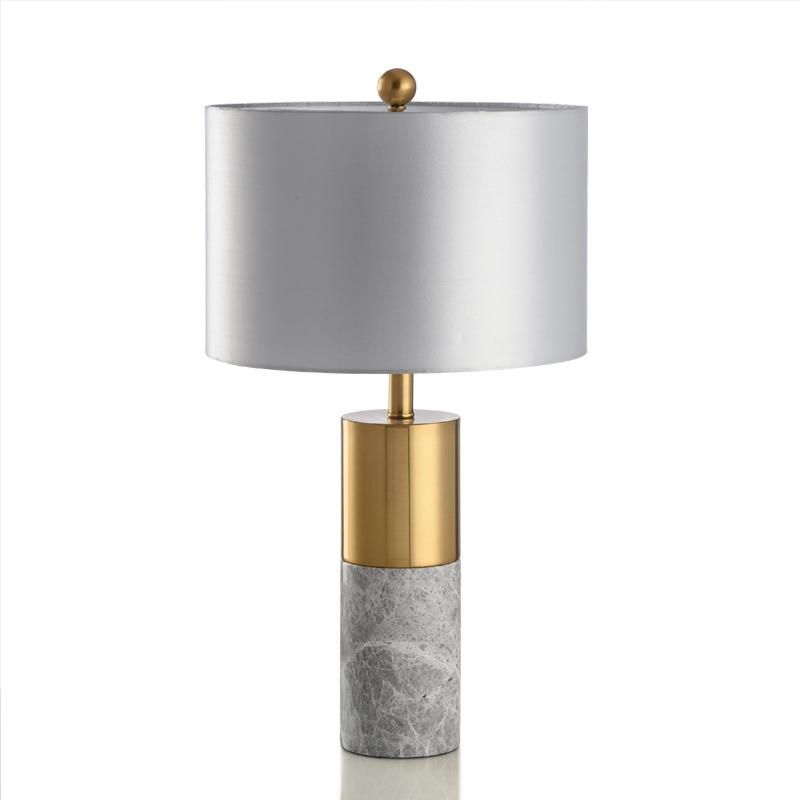 Staunton & Henry GREY MARBLE TABLE LAMP WITH GOLD TRIM