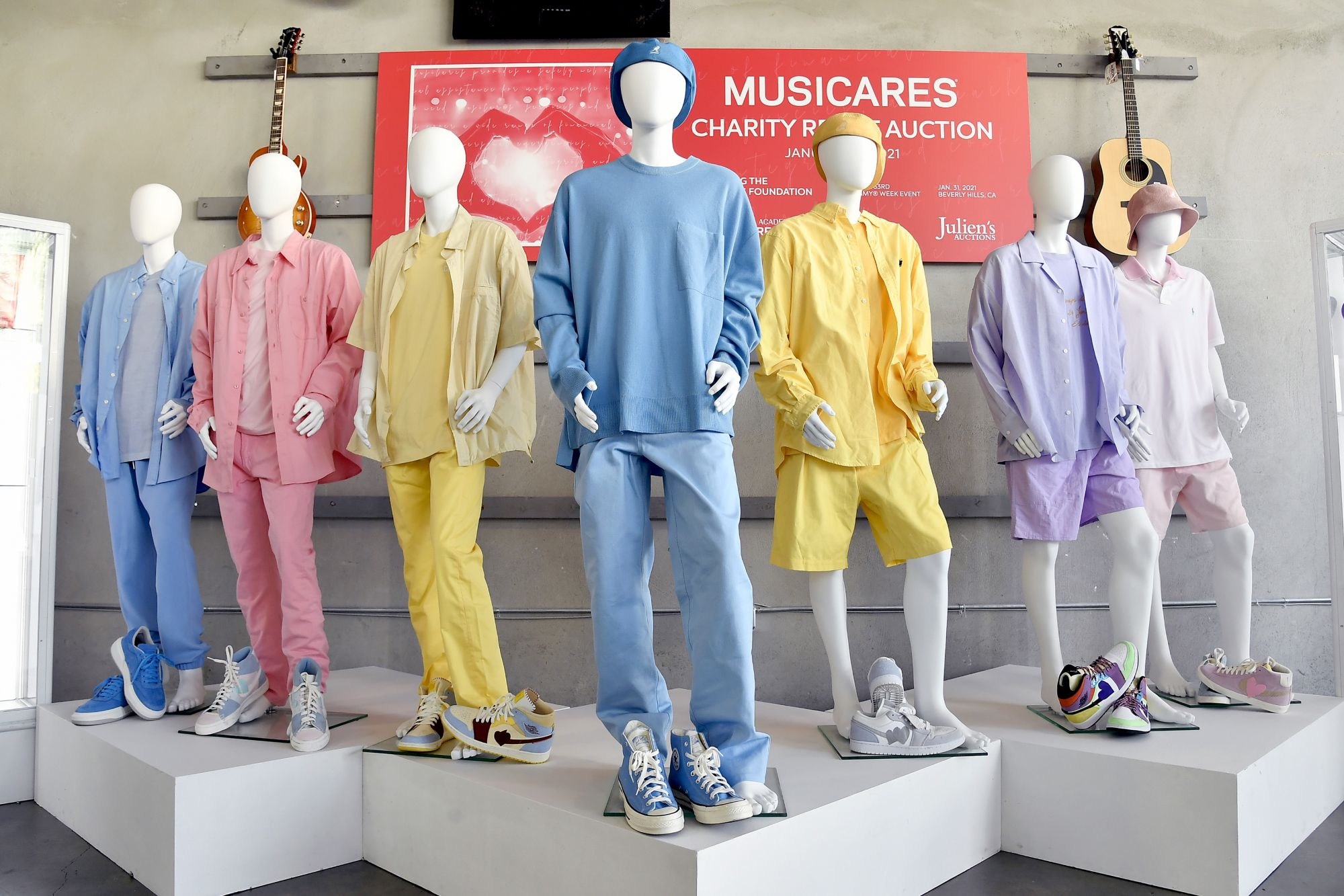 BEVERLY HILLS, CALIFORNIA - JANUARY 26: BTS music video outfits are dispalyed at MusiCares Charity Relief Auction Press Preview at Julien's Auctions on January 26, 2021 in Beverly Hills, California. (Photo by Frazer Harrison/Getty Images)